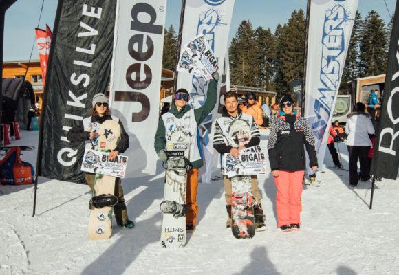 Il podio DEEJAY Xmasters Big Air Contest, da destra Federico Olivieri, Vlad Khadarin, Nicola Ganz